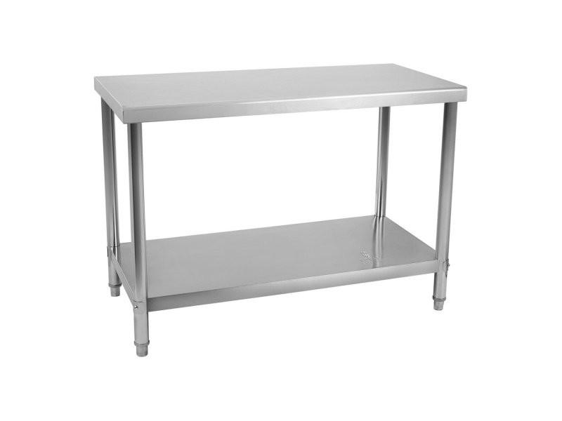 Table de travail inox 120 x 70 cm capacité de 143 kg acier inoxydable helloshop26 14_0003686