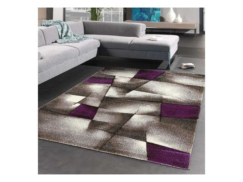 Tapis salon moderne de créateur parlak 3d violet, gris, noir 80 x ...