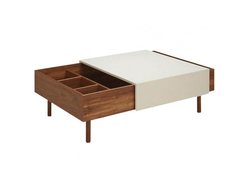 Table basse plaquée noyer avec plateau coulissant crème - zouli 7484