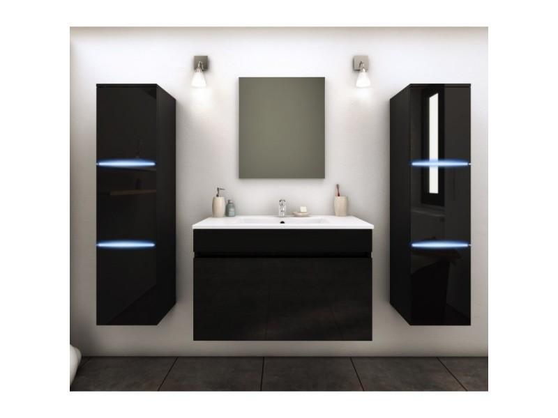 Meuble de salle de bain simple vasque 80 cm + 2 colonnes avec led ...