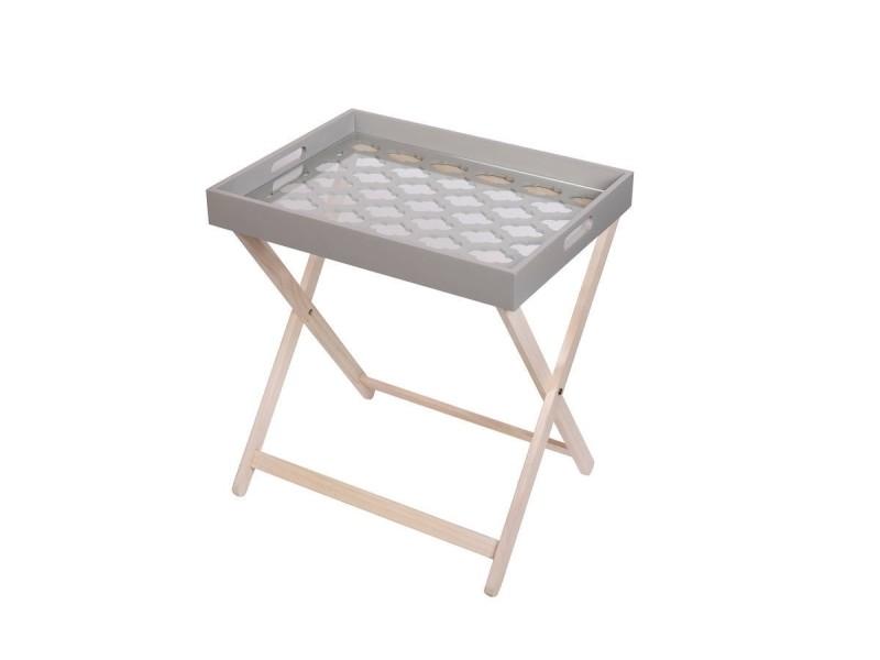Michigan table d'appoint en bois avec plateau en bois laqué gris et verre