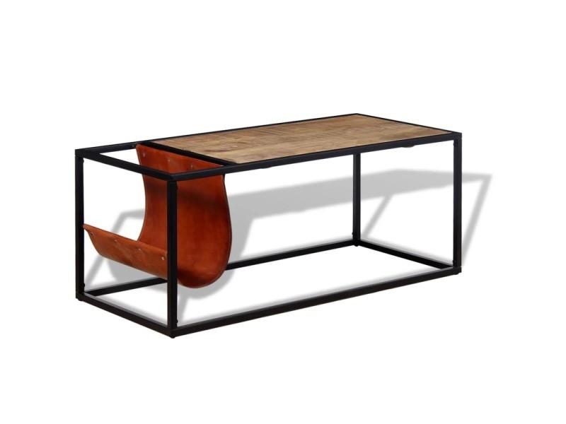Icaverne - tables basses categorie table basse avec porte-revues cuir véritable 110 x 50 x 45 cm