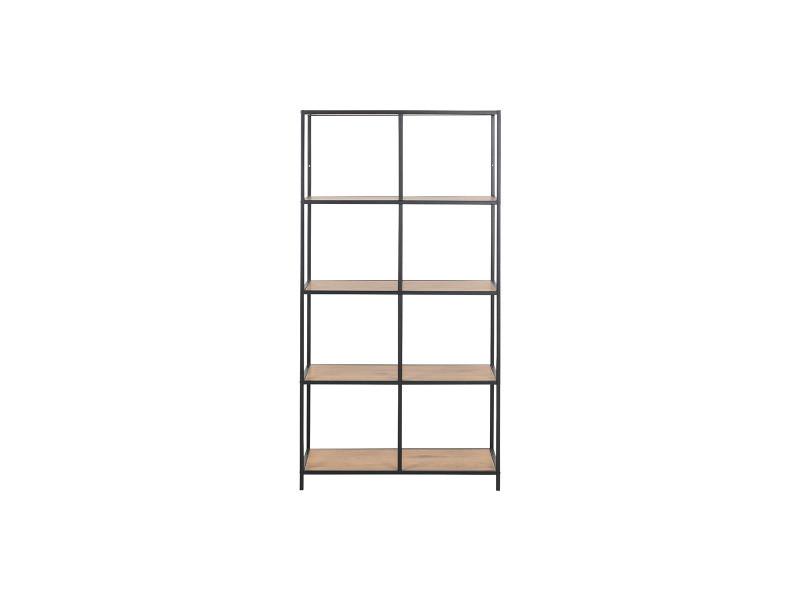Bibliothèque industrielle métal et bois l77 cm tresca