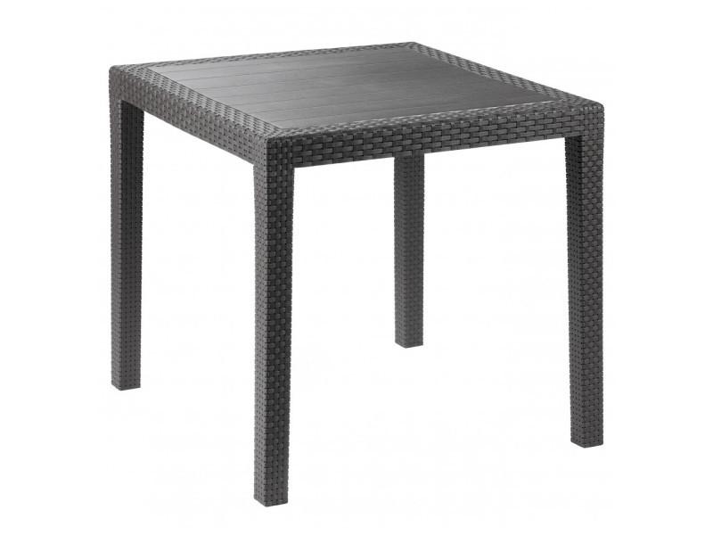 Petit salon de jardin équipé, table carré Lorita, chaises ...