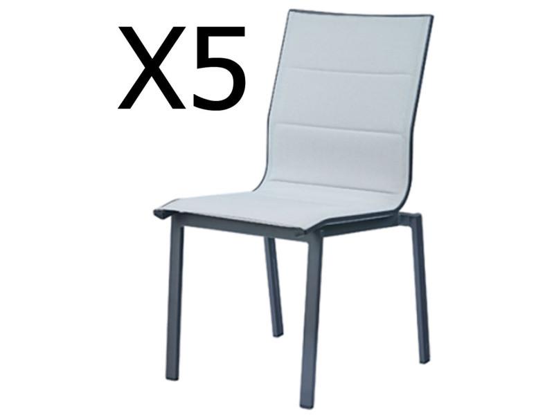 Lot de 5 chaises empilables en aluminium et polyester coloris perle -pegane-