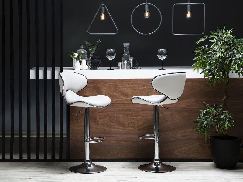 Lot de 2 chaises de bar en simili-cuir blanc conway 154906
