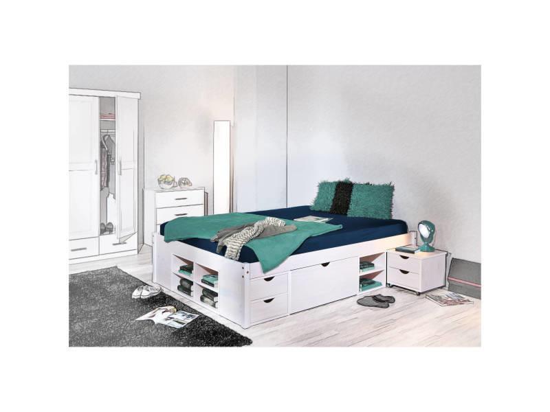 lit double 140x190 cm pour adulte avec tiroirs gain de. Black Bedroom Furniture Sets. Home Design Ideas