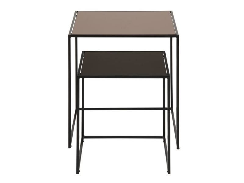 Table basse bolton lot de 2 tables basses carrées vintage en métal laqué noir + plateau en miroir bronze - l 45 x l 45 cm