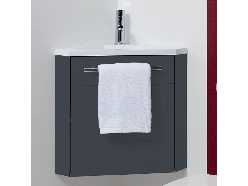 Meuble lave-mains à suspendre d\'angle ninon anthracite - Vente de ...
