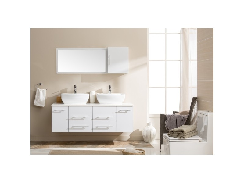Hera Blanc : Ensemble Salle De Bain Meubles + 2 Vasques +1 Miroir
