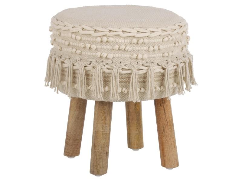 Womo-design tabouret blanc, 38x40 cm, en tissu et pieds en bois 490000119