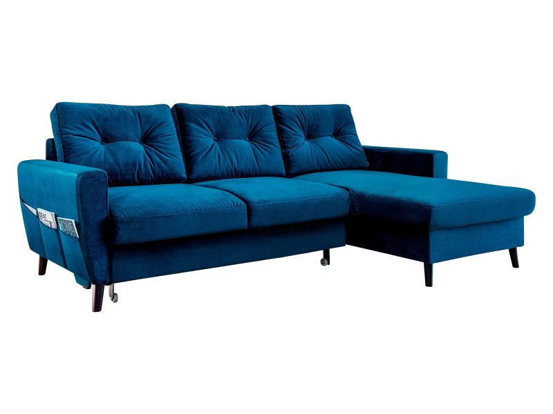 Canapé d'angle convertible coffre velours scandi bleu marine angle droit