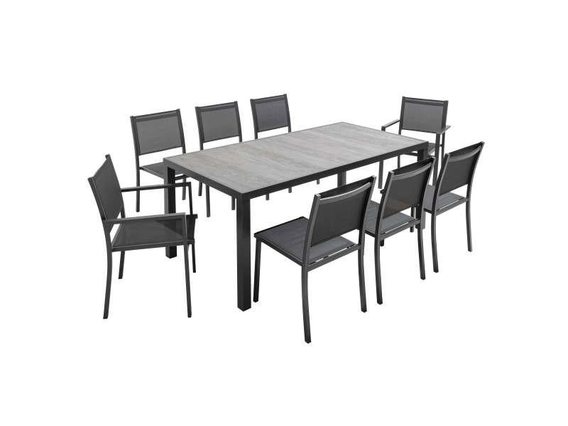 Salon de jardin aluminium et céramique, 1 table, 6 chaises ...