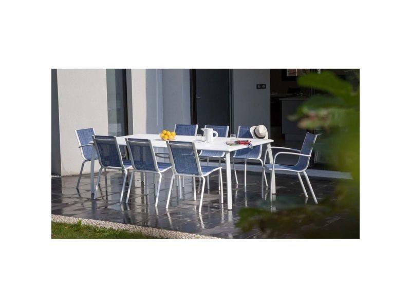 Fauteuil linea en aluminium et textilène jean\'s (lot de 2 ...