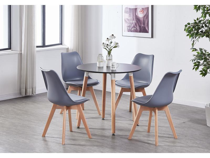 Table A Manger Ronde Noire Style Scandinave 4 Personnes Style