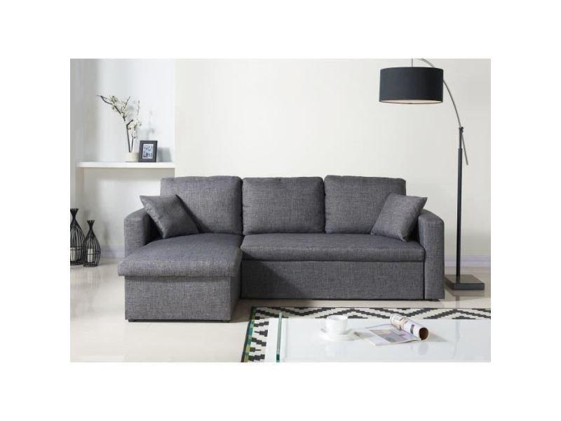 Canape - sofa - divan aspen canapé d'angle réversible convertible 3 places + coffre de rangement - tissu gris chiné - contemporain - l 223 x p 150 cm