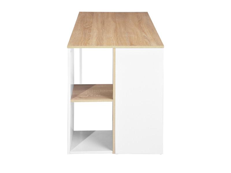 Vente chêne rangement bois métal étagère blanc Bureau de KJcFl1uT3