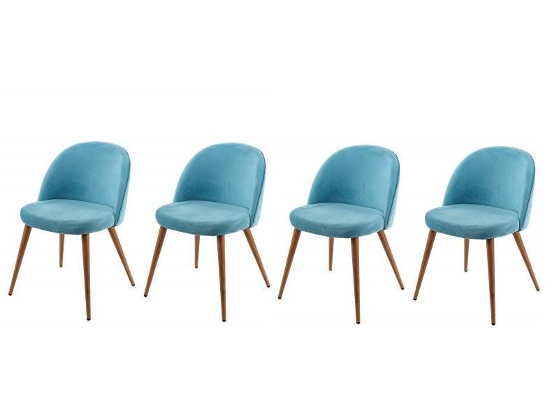 Lot De 4 Chaises De Salle A Manger Tissu Velours Bleu En Bois Style