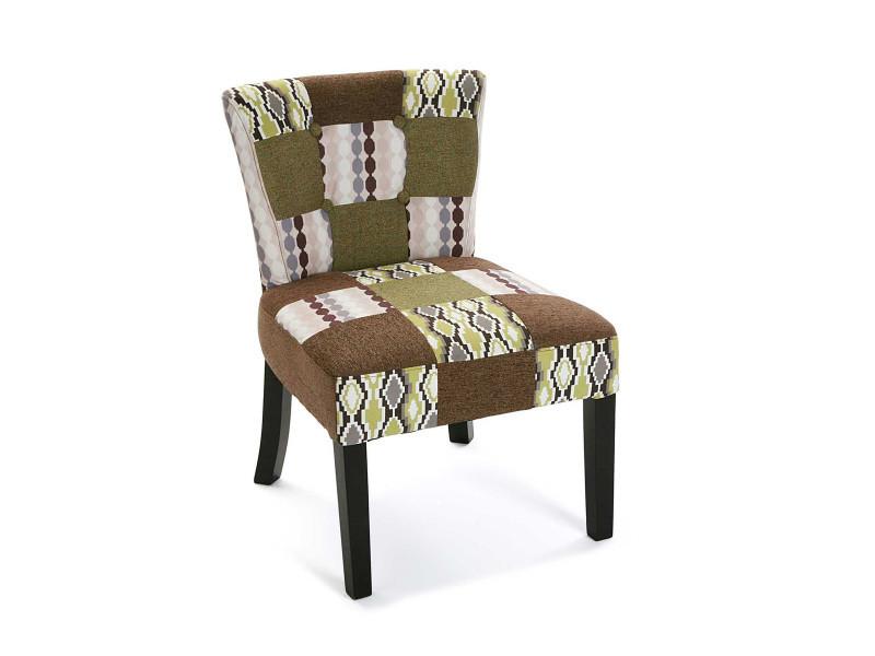 Fauteuil en tissu coloris marron et vert - l 50 x l 64 x h 73 cm -pegane-