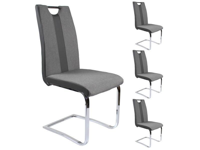 lot x4 chaises, mix tissu et pu gris, pieds chrome. Lot x4 Chaises, Mix tissu et PU Gris, pieds chrome.