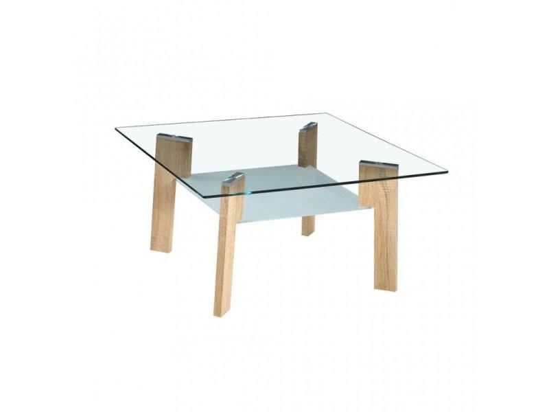 Table Basse En Verre Avec Pieds Look Bois 410776 Vente De