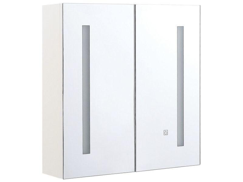 Armoire de toilette blanche avec miroir led 60 x 60 cm chabunco 293077