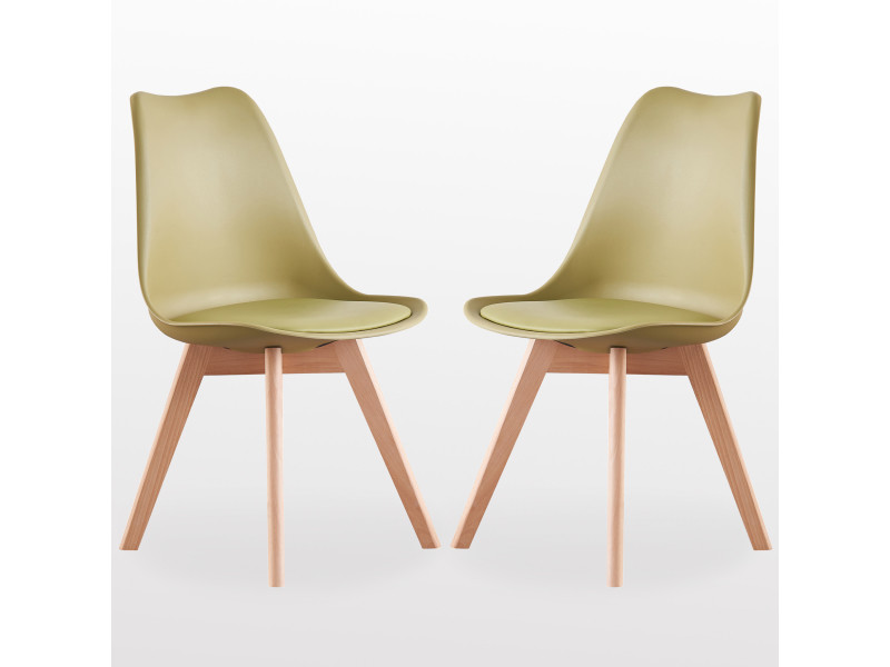 Lot de 2 chaises scandinaves vertes lorenzo assise