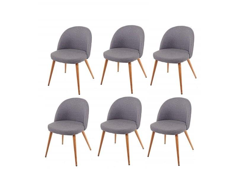 Lot de 6 chaises de salle à manger gris foncé pieds en bois ...