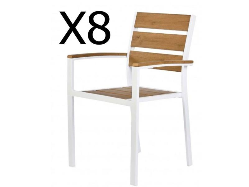 Lot de 8 fauteuils de jardin empilables coloris blanc et teck marron -pegane-
