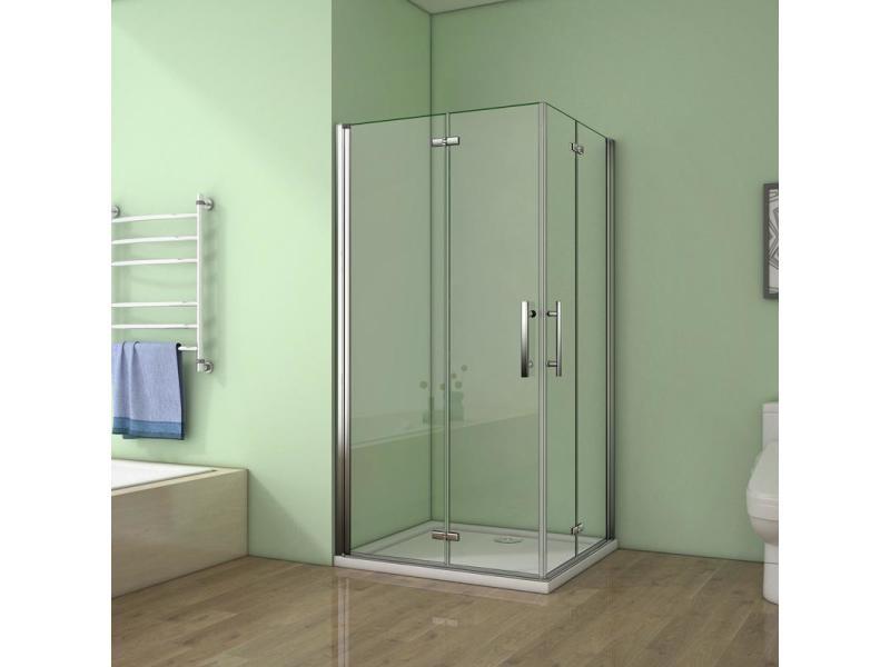 Cabine de douche 90x70x195cm verre anticalcaire porte pliante et pivotante