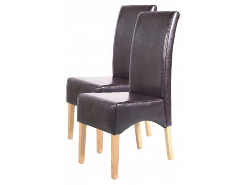 Lot de 2 chaises de salle à manger latina en cuir brun, h 102 x l 44 x p 44 cm -pegane-
