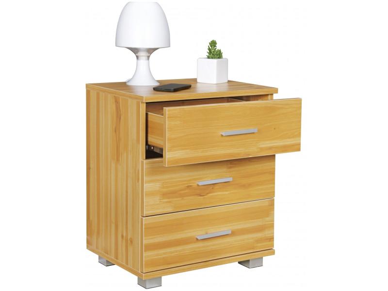 Table de chevet contemporaine 45 cm à 3 tiroirs en panneaux de ...