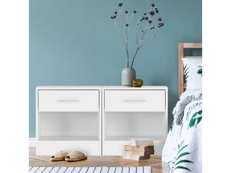 Table de chevet ml-design blanche, 36x29x38 cm, avec un tiroir et un compartiment ouvert, en bois 490003895