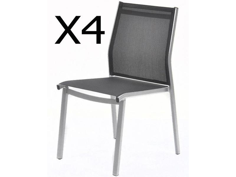 4 Lot en argent de aluminium chaises empilables coloris HIe2WED9Y