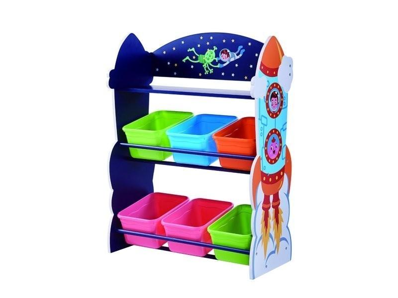 Meuble de rangement en bois à jouets avec bacs fantaisie enfant espace td-12695a