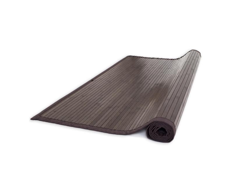 Moderne tapis bambou 200x200 marron foncé brillant et soyeux