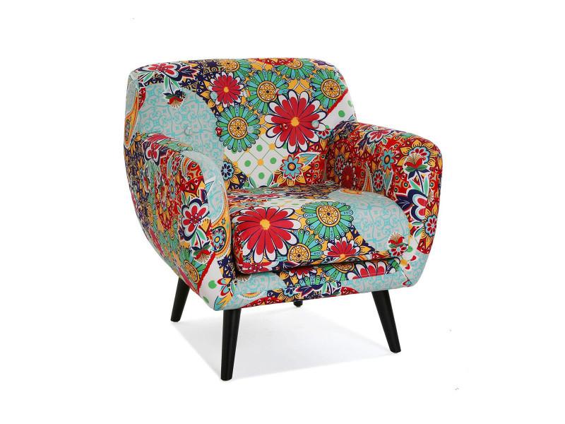 Fauteuil en coton multicolore motif fleurs - l 68 x l 63 x h 76 cm -pegane-