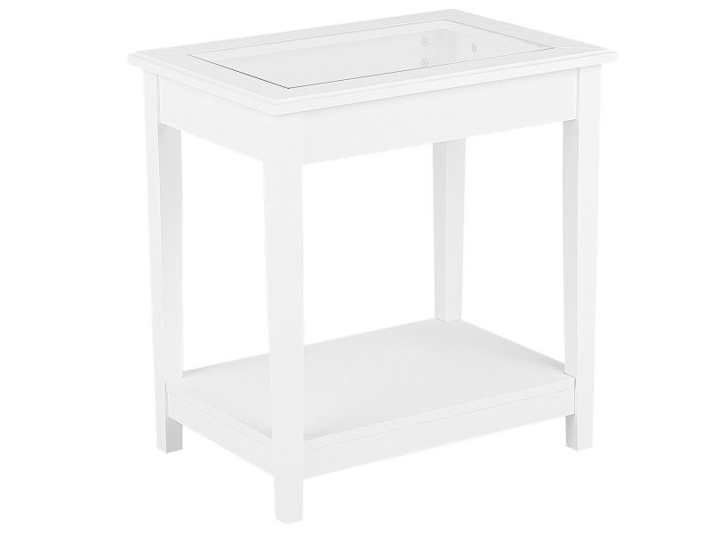 Table appoint blanche avec plateau en verre attu 126918