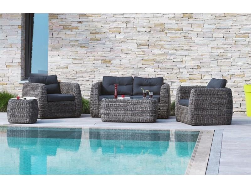salon de jardin 4 places en r sine tress e ronde vente. Black Bedroom Furniture Sets. Home Design Ideas