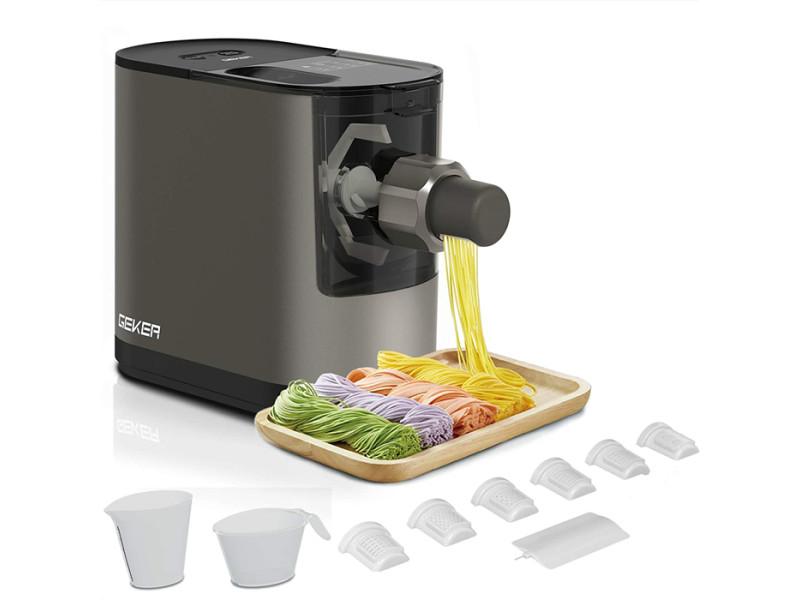 Geker machine à pâtes automatique en 17 minutes appareil à pâtes maison compact pasta maker 200w, 6 disques de forme, gris foncé KLXH8