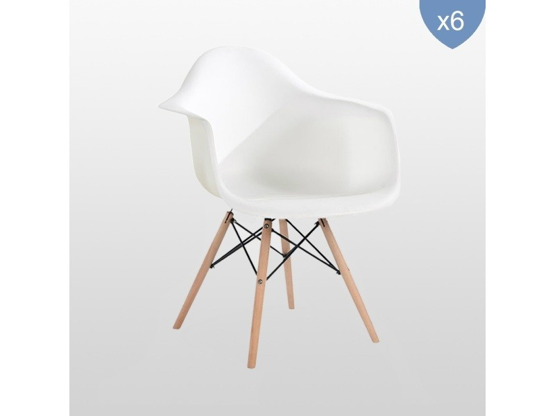 Lot de 6 chaises style scandinaves blanches ajie