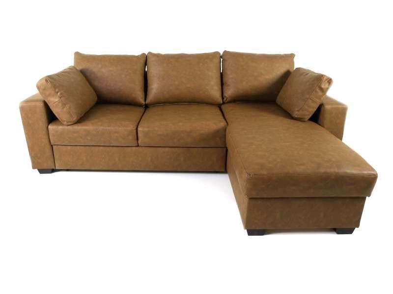 Canapé d'angle convertible simili-cuir chocolat vintage - /marron - /marron OSLOVINTAGE800