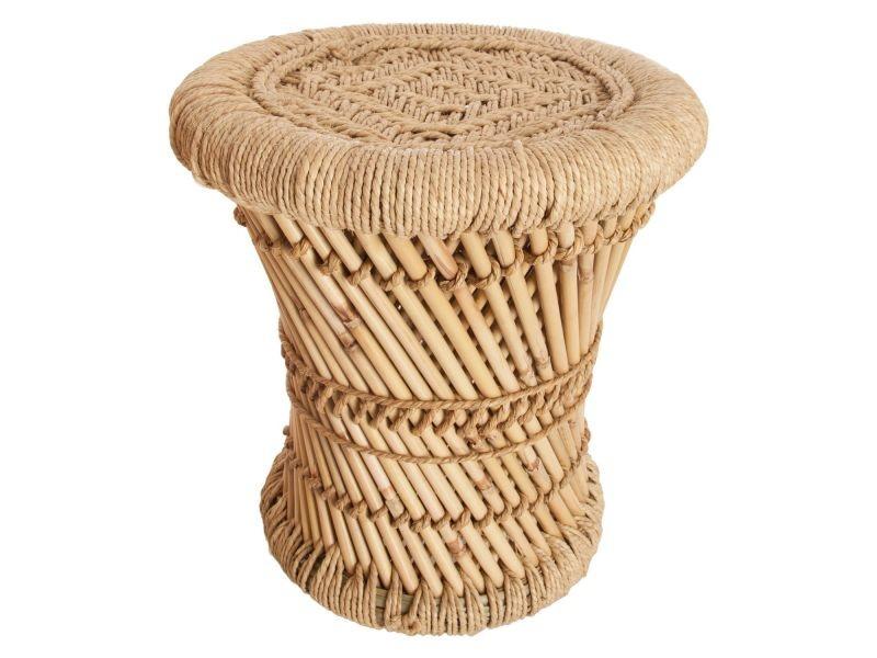 2 tables gigognes en bambou et corde nomade - diam. 30/38 cm ...