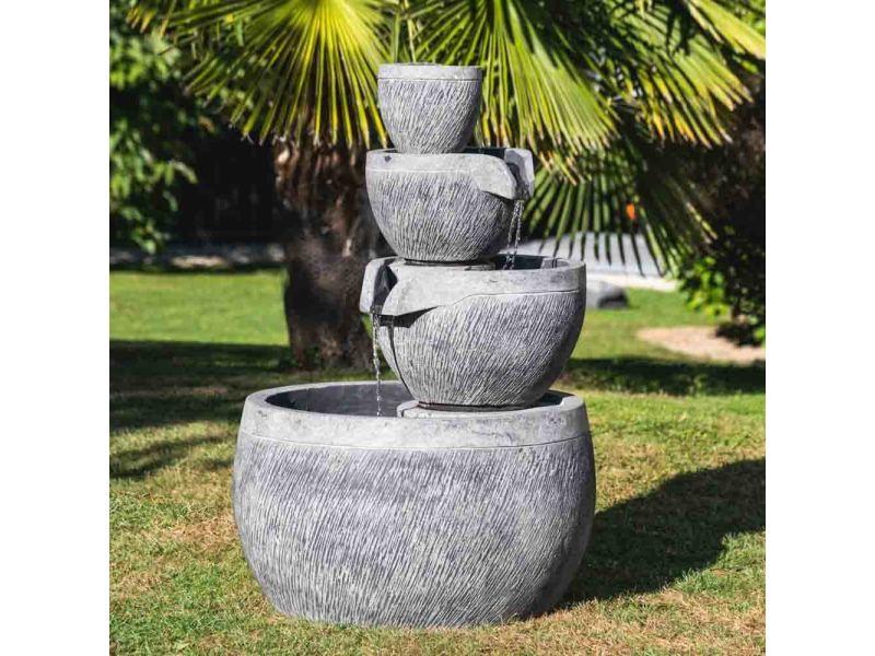 Fontaine de jardin bassin rond 1.10m 4 coupes noire grise 21032 ...