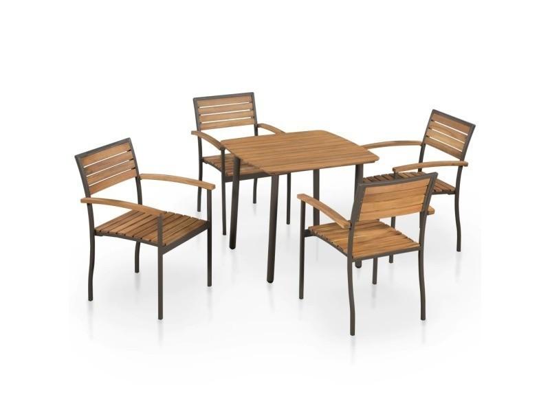 Vidaxl mobilier de jardin 5 pcs bois d\'acacia massif et ...