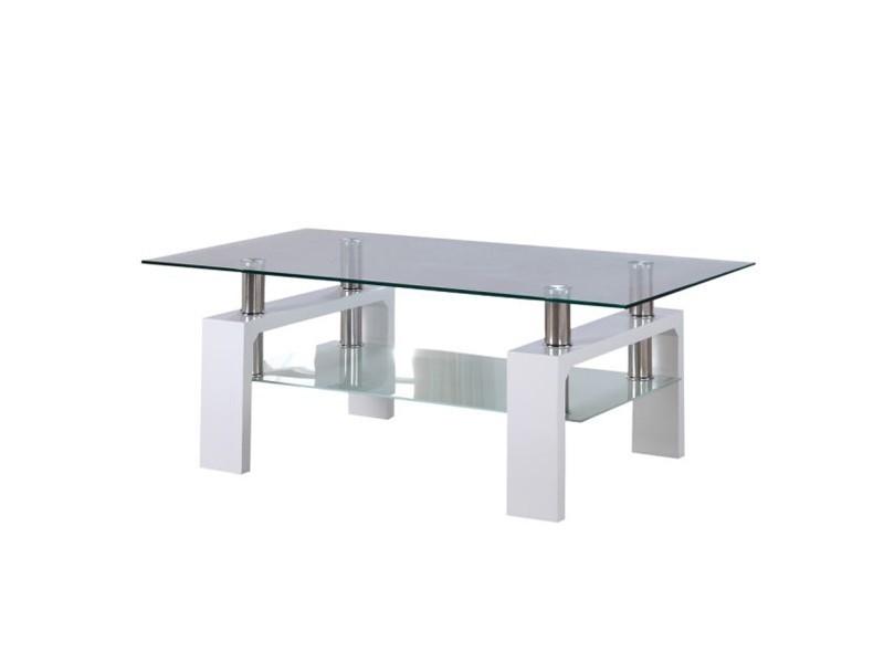 Table Basse Verre Conforama.Lw Coffee Table Basse En Verre Acier Et Bois Blanc Vente