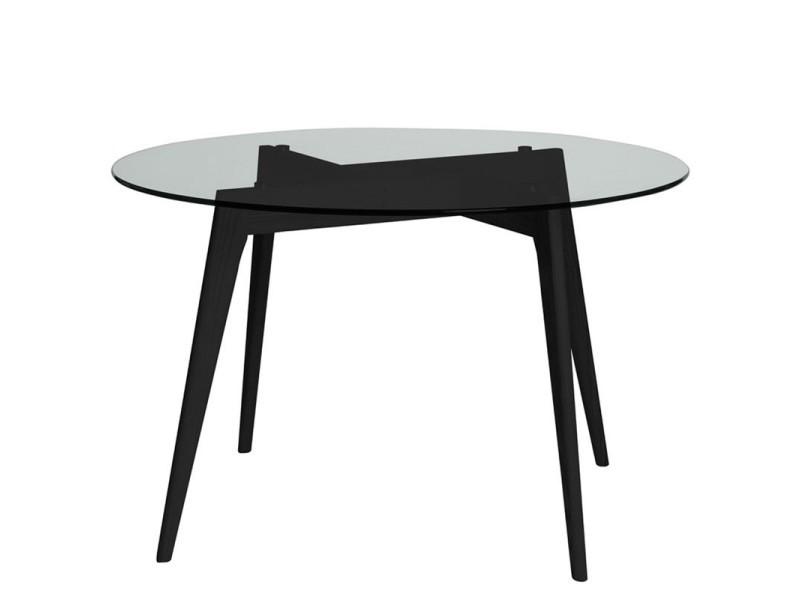 Table Ronde En Verre Conforama.Table De Repas Ronde Verre Noir Samba L 120 X L 120 X H
