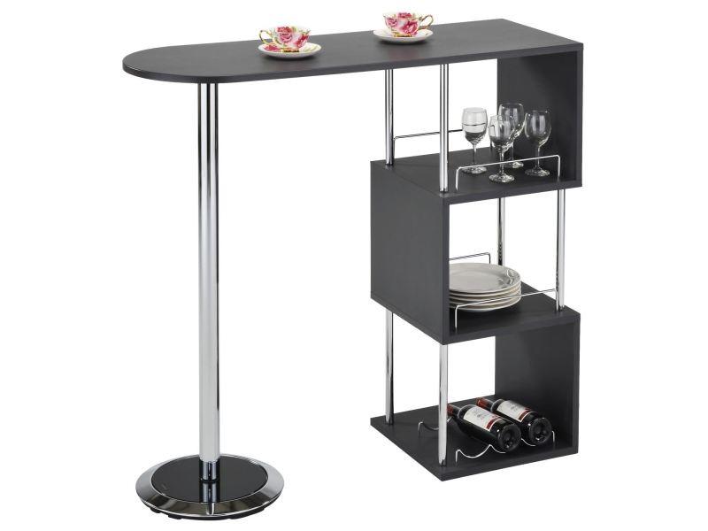 Table Haute De Bar Vigando Mange Debout Comptoir Avec 3 Etageres Dont 1 Porte Bouteilles En Metal Chrome Et Plateau Mdf Gris Mat
