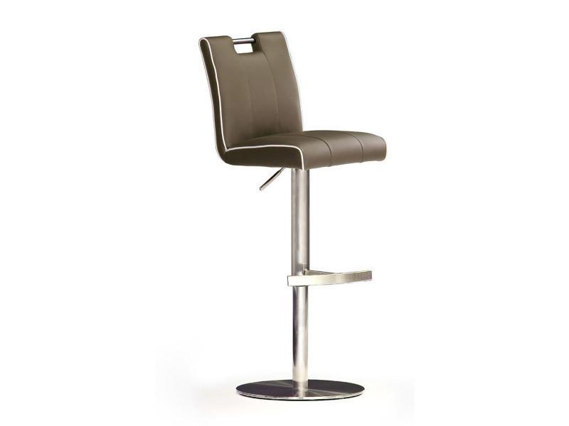 Tabouret de bar en cuir socle rond en acier brossé, rotation 360° coloris cappucino - dim : h 87-112 x 42 x 51 cm -pegane-