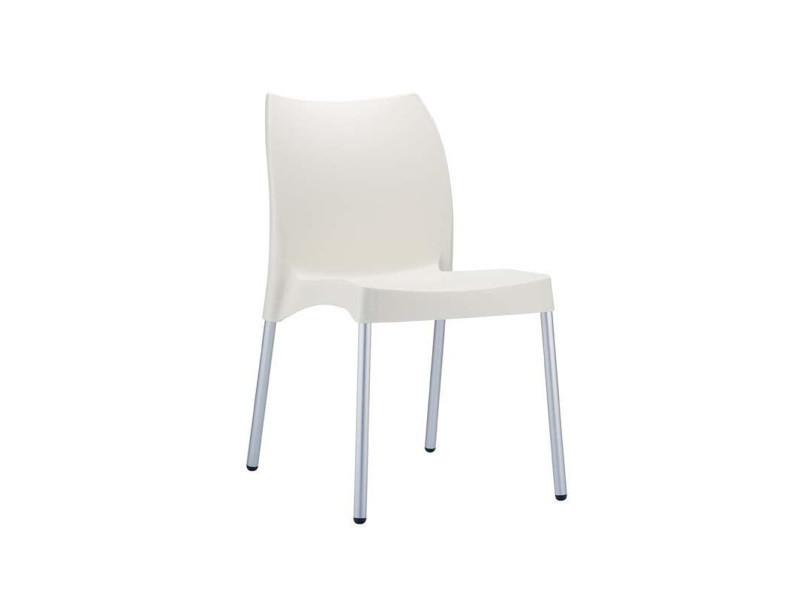 Chaise de jardin avec siège en plastique crème - 80 x 44 x 53 cm -pegane-